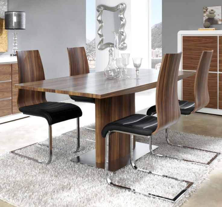 Manhattan Walnut Veneer Extending Dining Table With A Stainless Steel Base
