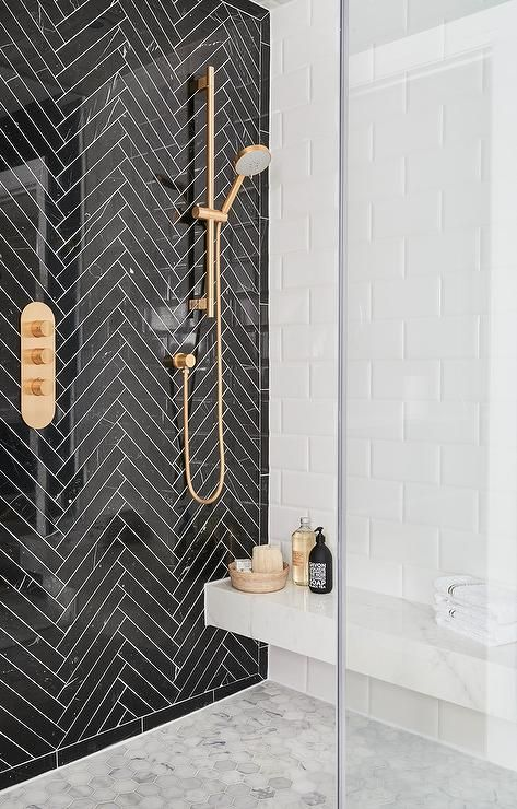 Ali Budd Interiors   Chic Black And White Modern Bathroom Boasts A Seamless  Glass Walk In Shower Fitted With A Marble Floating Bench Fixed Against  Large ...