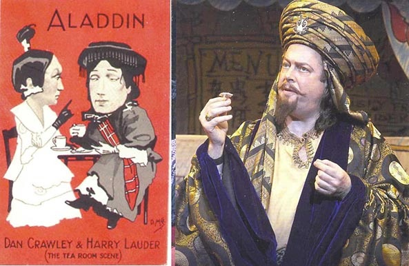 This is a cool pic! At left is a handbill for a 1905 London production of Aladdin, showing notable Chinese influence (from It's Behind You: The Story of Pantomime [2004], by Peter Lathan). Roger Allam played the African magician Abanazar in the  London Old Vic production of Aladdin.
