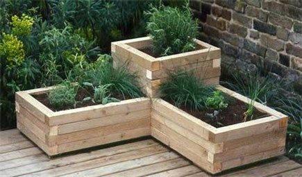 Corner Wooden Planter - For Bush beans and Fava Beans on Balcony