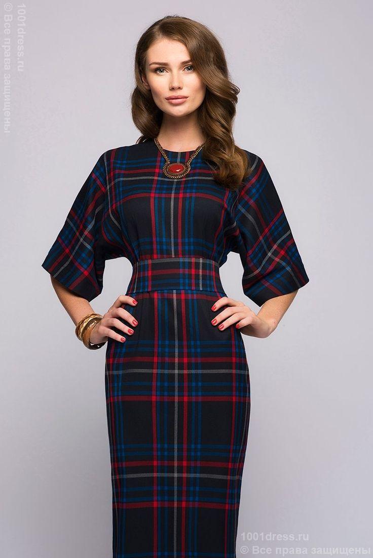 Платье темно-синее длины миди в клетку со свободными рукавами в интернет-магазине 1001 DRESS