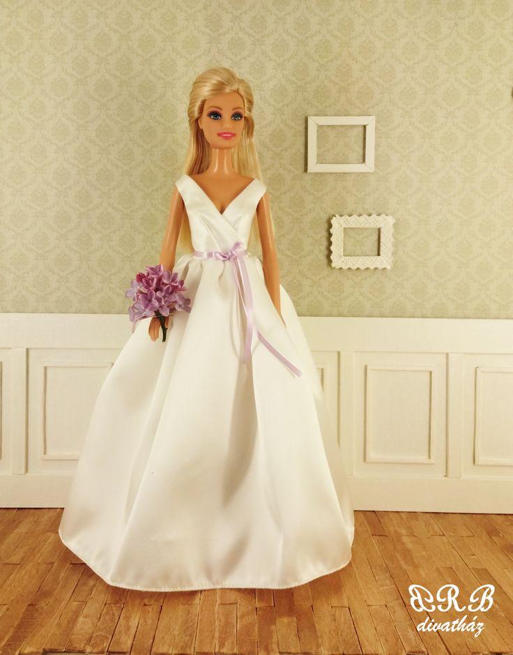 Handmade wedding dress for Barbie doll
