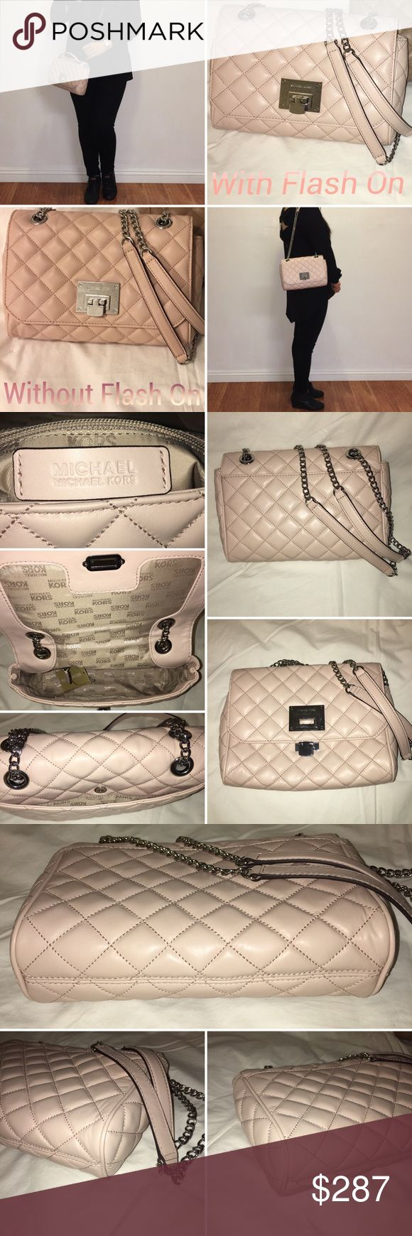 "NEW Michael Kors Quilted Flap Bag NEW Authentic Michael Kors Quilted Flap Bag  Cross body / shoulder bag  Lamb Skin & Silver Tone Hardware  Condition: Brand New with tags  Color: Ballet (Very Light Ballerina Pink)   Approx measurements 12""L x 7.5""H x 3.75""W Adjustable braided chain link and leather straps with 12""- 24"" strap drop MK signature fabric lining Exterior one large open slip pocket at back Interior one large zip, one multi-function slip pocket. *All photos taken with Flash On…"