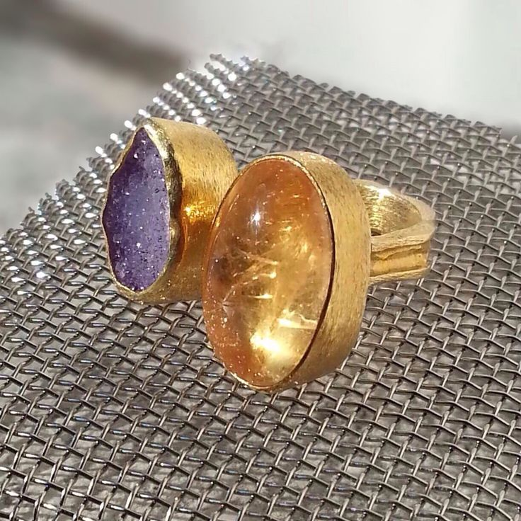 Citrine Cabochon Ring, Handmade jewelry, Purple Druzy Agate, Sterling Silver, Natural Gemstone ring, Bezel Setting, Silver Band, Gold plated by KastoniJewels on Etsy https://www.etsy.com/listing/215164844/citrine-cabochon-ring-handmade-jewelry