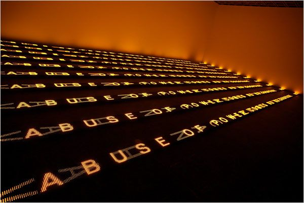 """""""for Chicago"""". Jenny Holzer.  Reads... """"Abuse of Power Comes as No Surprise"""""""