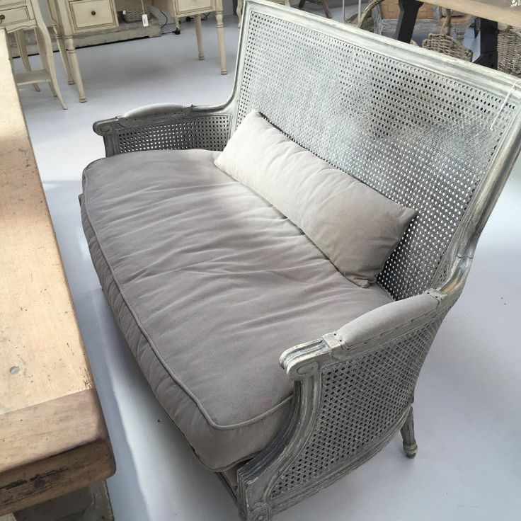 Bergere Sofa / Bench with Rattan Back - Allissias Attic  &  Vintage French Style - 1