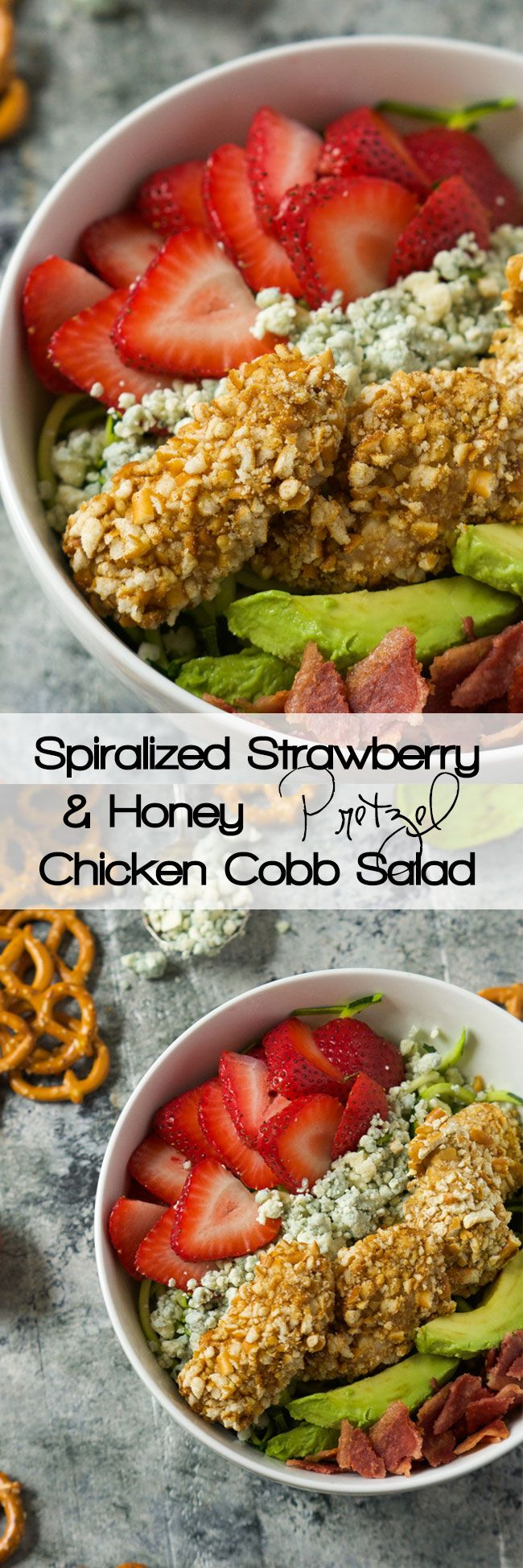 A fresh and summery salad that is slightly sweet and spicy all in the same bite! This Strawberry & Honey Mustard Pretzel Chicken Cobb Salad will step up your dinner time salad in no time!