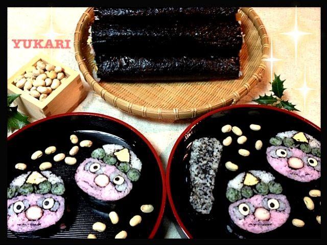 鬼は外(^^)/~~~        鬼をこわい顔にするつもりが可愛いくなっちゃいました.•**✰꒰•̤ू◡ुོ•̤ू꒱✰**•. - 291件のもぐもぐ - 節分‼巻き寿司 by yukariMINT