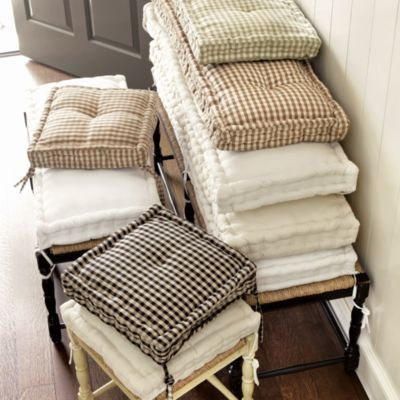 Farmhouse Stool Cushions | Ballard Designs, for window seat.  I think the 3 seat bench size might work for the window seat.  need to measure. (if this works, the off-white twill or natural linen would be a great choice for the window seat cushion)
