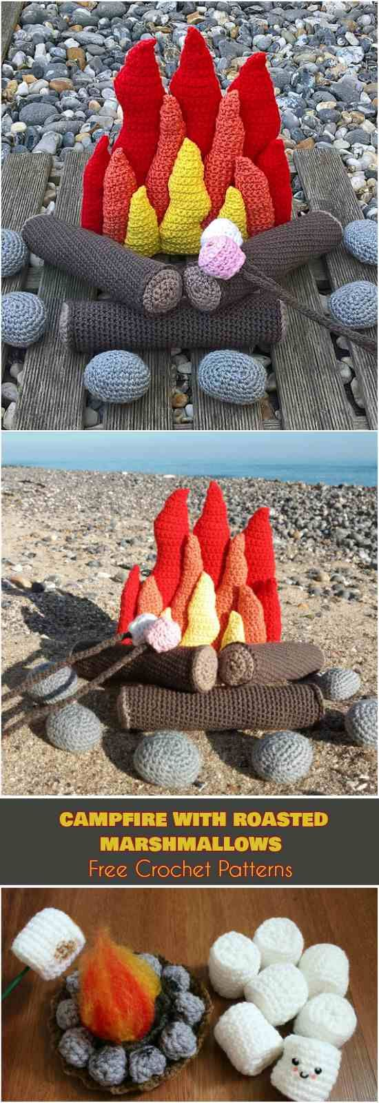 Campfire with Roasted Marshmallows [Free Crochet Patterns] Amigurumi , Home Decor Crochet Patterns