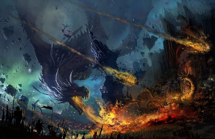 Fantasy Dragon Warrior Fantasy Fire Battle City Wallpaper