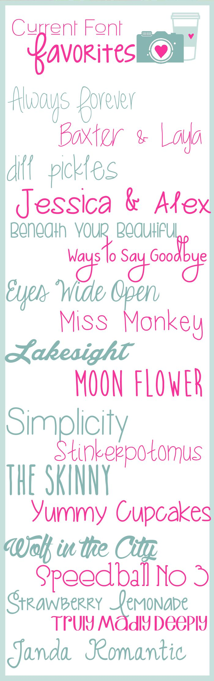 Current Font Favorites ~~ {19 free fonts w/ links}