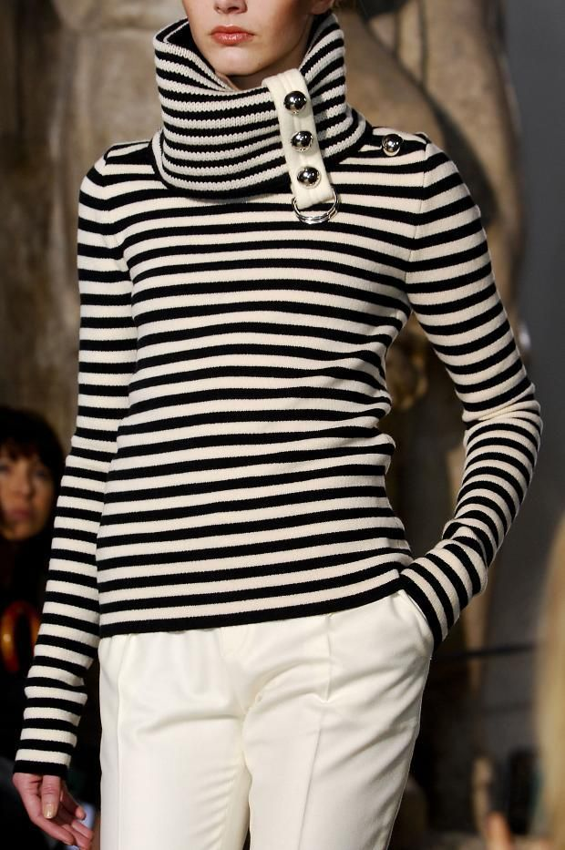 Bouchra Jarrar black soft beige stripe sweater with roll neck and very cool button detail #fashion