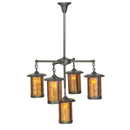 Five light craftsman chandelier.