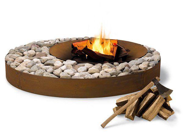 corten steel ring & stone fire pit firepit
