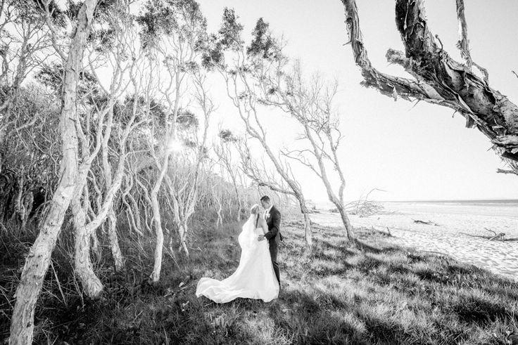 Lovely just married husband and wife in the tea trees at North Stradbroke Island | Stradbroke Island Photography www.stradbrokeislandphotography.com