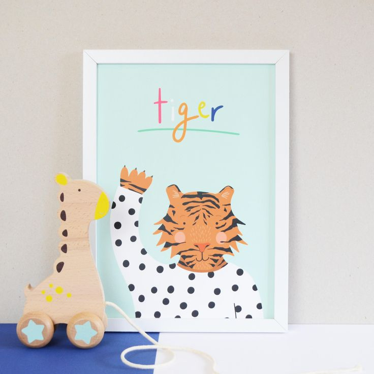 Children's Tiger A4 Print, Nursery Wall Decor, Childrens Bedroom Art Print, Hand Lettered Wall Art, Childrens Animal A4 Print by HannahStevensShop on Etsy