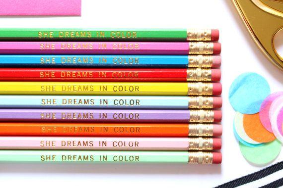 She Dreams in Color Set of 10 Hex Pencils by TaylorElliottDesigns