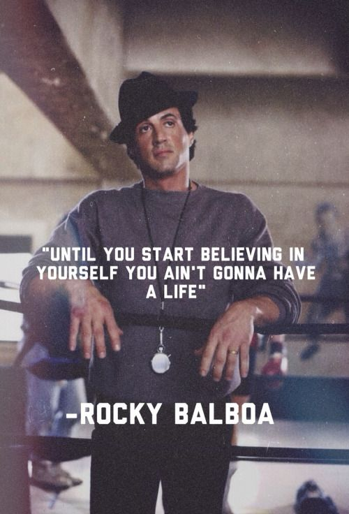 """Rocky Balboa gives his son Robert Balboa a life's lesson - 'Rocky Balboa' (2006) """"The world ain't all sunshine and rainbows, it will beat you to your knees and keep you there permanently if you let it. You me or nobody is gonna hit as hard as life, but its not about how hard you hit, its about how hard you can get hit and keep moving forward, how much you can take and keep moving forward, thats how winning is done!"""" ..."""