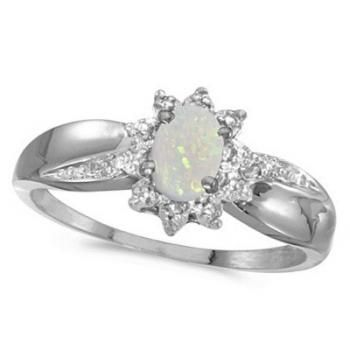 Opal & Diamond Right Hand Flower Shaped Ring 14k White Gold (0.55ct)-Allurez.com