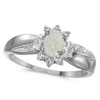 Opal & Diamond Right Hand Flower Shaped Ring 14k White Gold (0.55ct)-Allurez.com