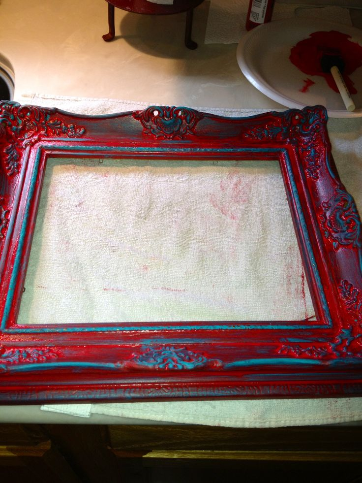 Old Picture Frame turned into A Red Washed with Turquoise Rustic Look!! Summer Project Finished On To The Next!!