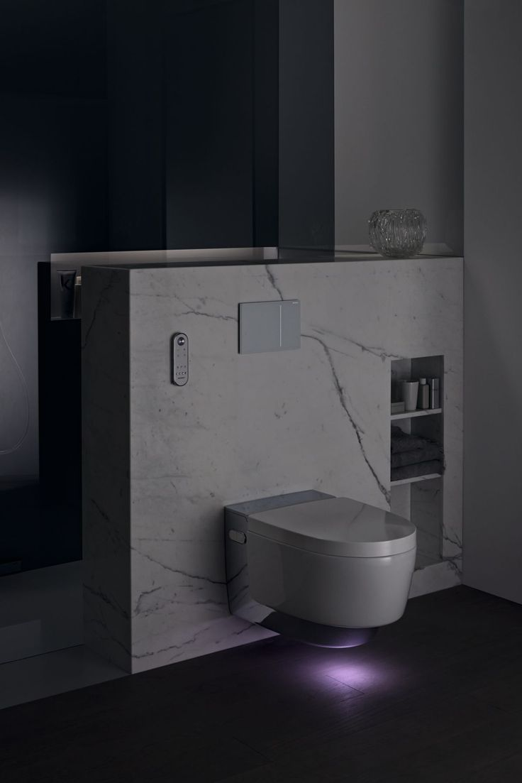 The new #showertoilet Geberit #AquaClean Mera with glowing orientation light. You can also see the #Geberit Sigma70 actuator plate. http://www.geberit-aquaclean.ch/
