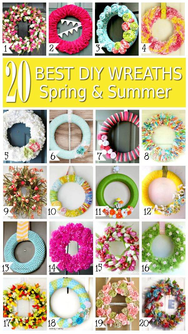 20 Best DIY Wreaths Spring and Summer - Make these yourself for a fraction of store wreath costs! #wreath #crafts #diy
