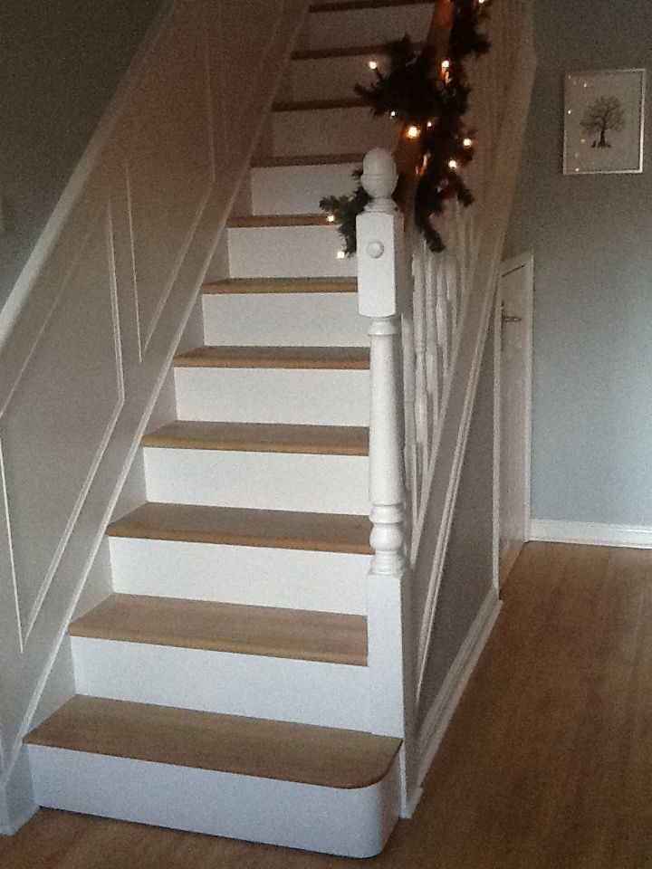 Oak And White Painted Stairs Wrapped Bannister With Lit