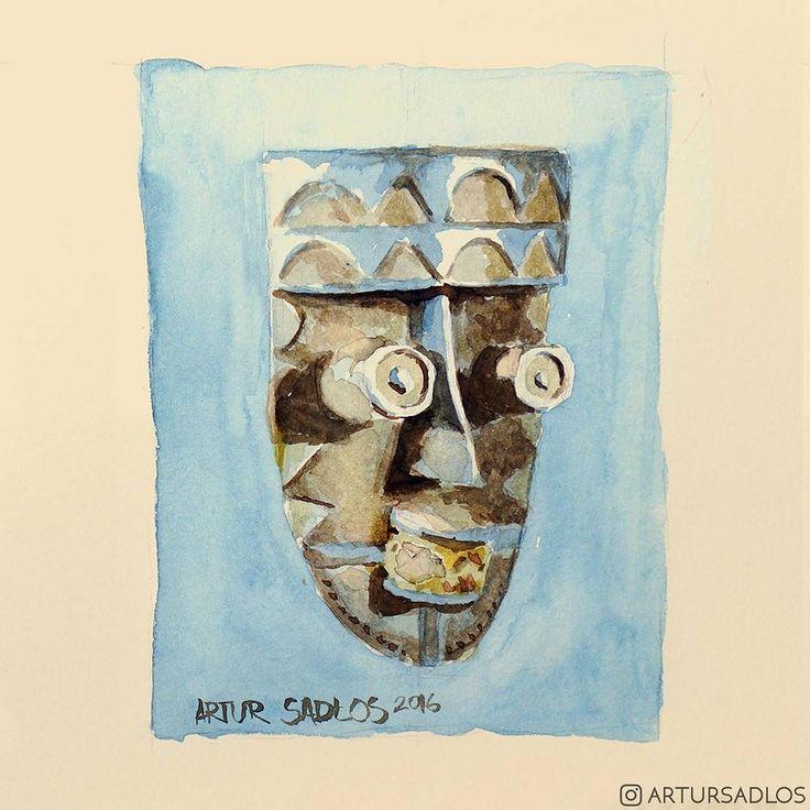 Another one.  #mooeti #conceptverse #artursadlos #tribal #africa #mask #tribalmask #watercolorart  #paintingoftheday  #study #artistofinstagram  #instaartwork #artist_sharing #artwork