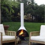 mid-century design outdoor fireplace.