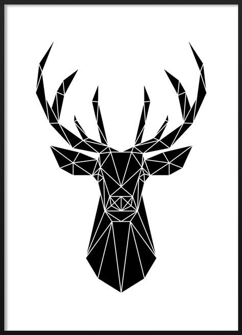 Black and white geometric deer poster #blackandwhite #modern #scandinavian #interior #geometric #deer #illustration #poster