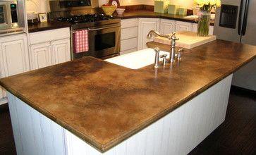 Brown cement countertop