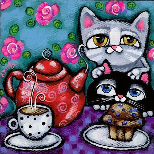 2 CATS and Teapot Folk Art Cat PRINT cat folk by kristaartstudio