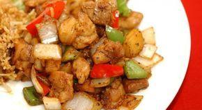 Τηγανιά με κοτόπουλο, πολύχρωμες πιπεριές και γραβιέρα