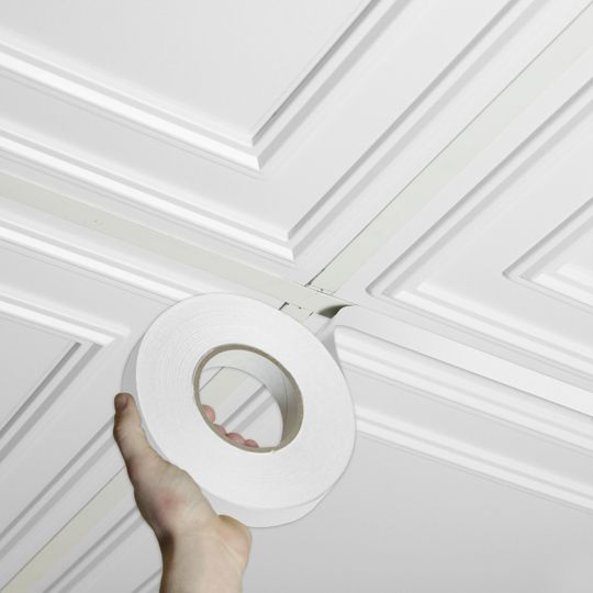 White Decorative Grid Tape is self-adhesive and designed to cover the T-bar drop ceiling grid in suspended ceiling tile installations.