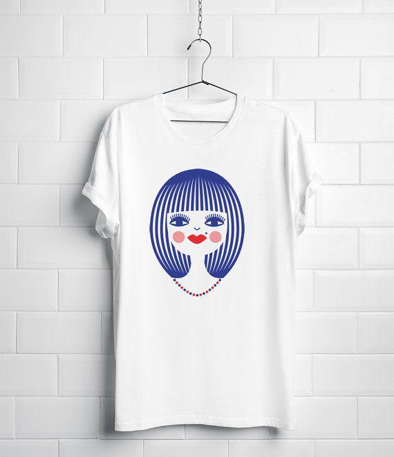 Organic t-shirt, women's, Screen print - Stylish pretty blushed girl with necklace