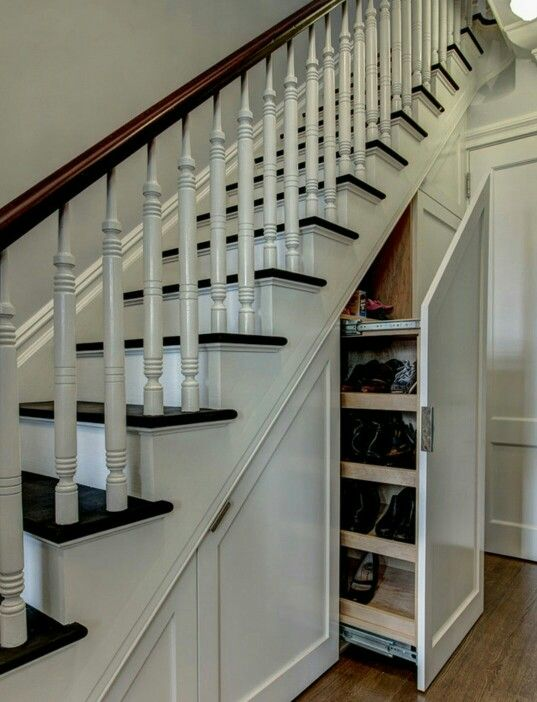 Shoe storage under the stairs