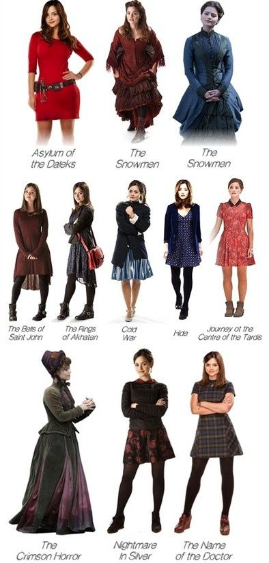 Clara Oswin Oswald- The impossible girl. Also the girl who shall never be seen in pants. < though they could definitely be longer, I love the last two outfits. And, of course, the Victorian attire :)