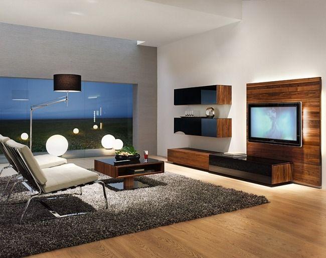 Massivholz Wohnwand Wohnzimmer Schwarze Hochglanz Fronten