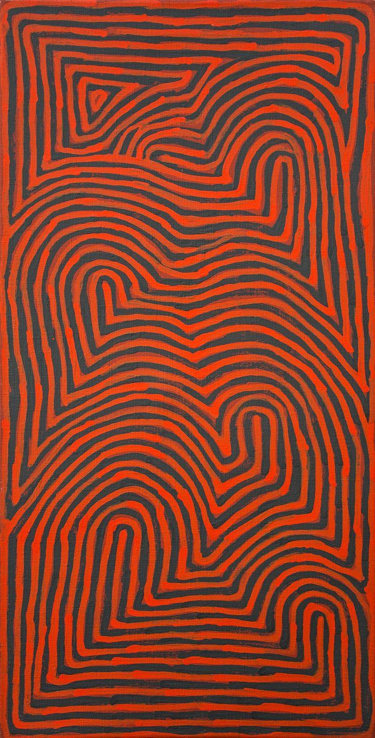 Ronnie Tjampitjinpa - Tingari stories Dreaming Time Stories - 91 x 46 cm http://www.aboriginalsignature.com/art-aborigene-papunya-tula/ronnie-tjampitjinpa-tingari-stories-dreaming-time-stories-91-x-46-cm