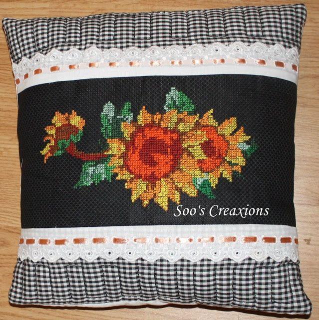 cross stitch sunflower cushion