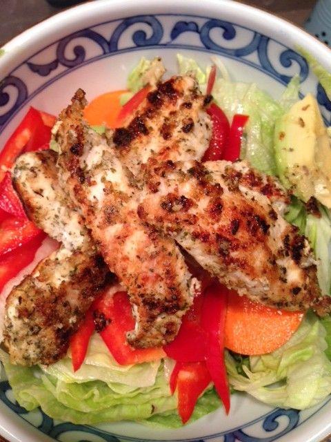 Healthy Chicken 'Schnitzel' Salad (gluten free)