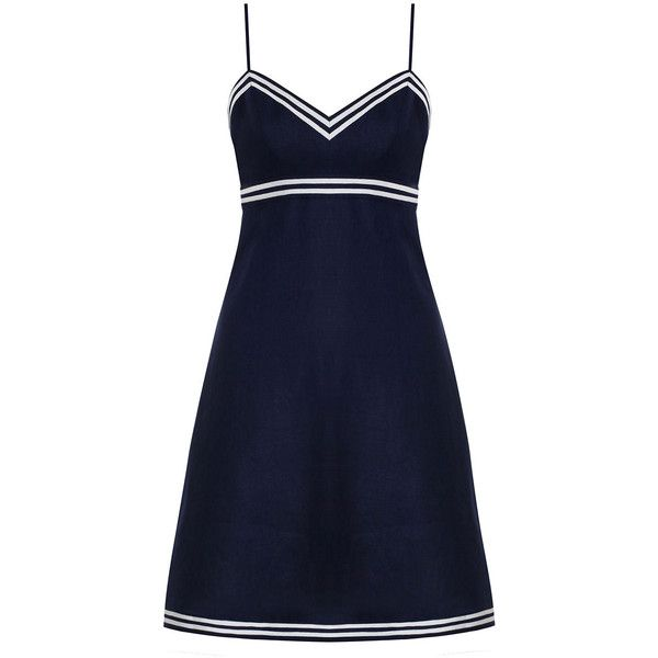 ZIMMERMANN Meridian Sailor Dress (£240) ❤ liked on Polyvore featuring dresses, short blue dress, summer dresses, short summer dresses, swim dress and short dresses