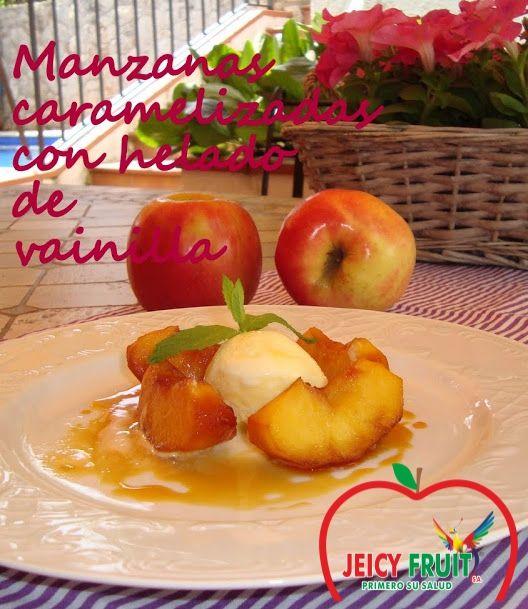 INGREDIENTES: Manzanas Pink Lady de #Jeicyfruit de tamaño grande (1 manzana, 8 trozos)  1 limón Hojas de menta para decoración Helado de vainilla de calidad Para el caramelo 200 g de azúcar para 4 manzanas Pelar y cortar las manzanas, y rociar con el zumo de limón para que no ennegrezcan.