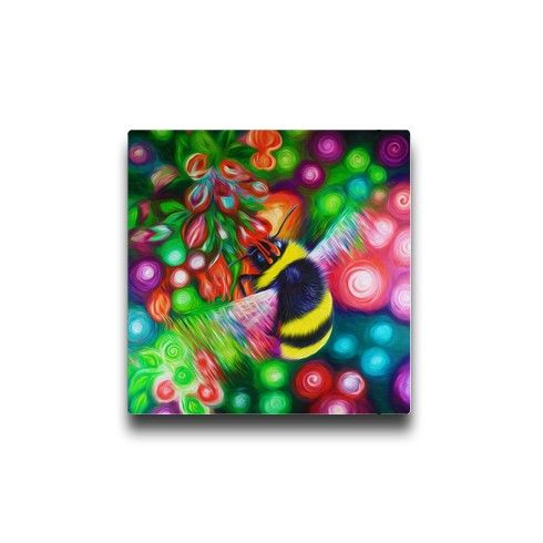 Bumble bee and flowers canvas by simon knott fine artist at zippi