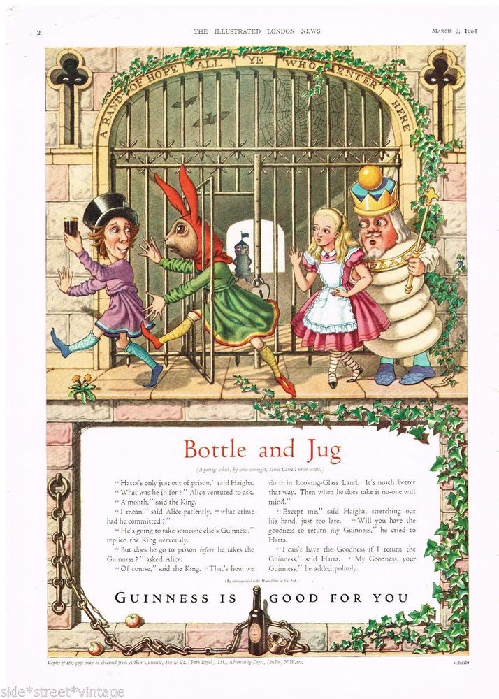 GUINNESS  ADVERT  ALICE IN WONDERLAND Vintage Advertising 1954 Original ADVERT