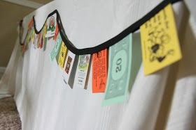 Game Night ; board game decorations, like Monopoly money streamers