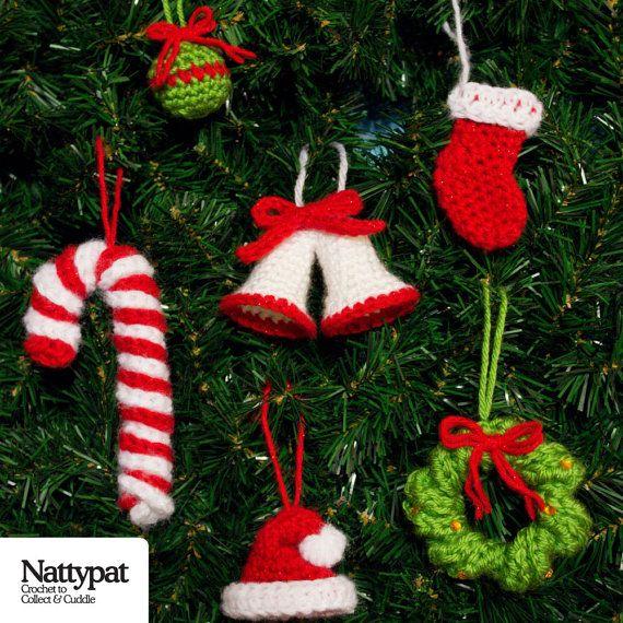 Ornamental Charms Six Christmas Tree by NattypatCrochet on Etsy