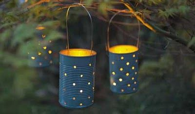 Let's Make a Tin Can Lantern - The Magic Onions. These could be used for Halloween, if made slightly differently.  Or Christmas...